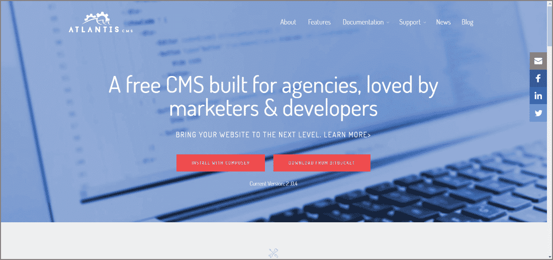 Atlantis CMS - Top 10 Open Source CMS Powered by Laravel and Symfony