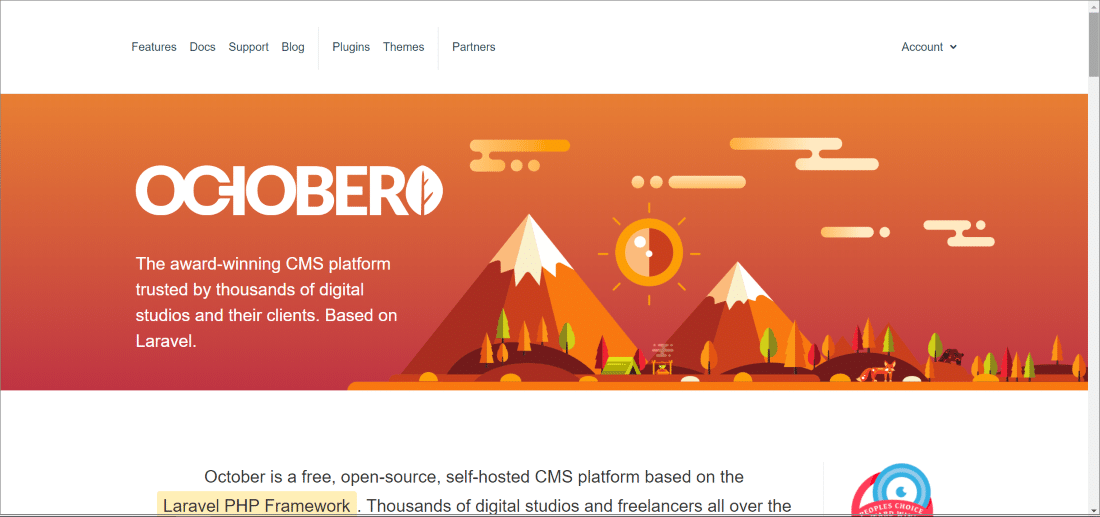 October CMS - Top 10 Open Source CMS Powered by Laravel and Symfony